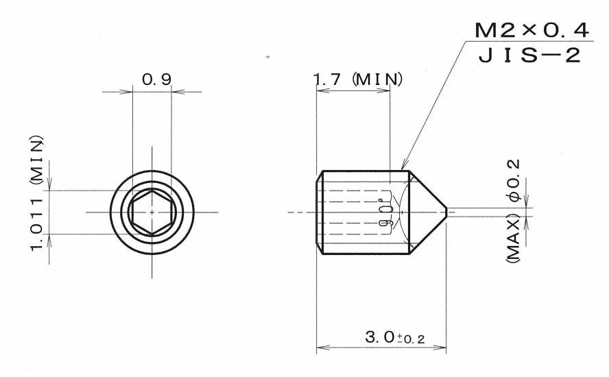 Cone Point hexagon socket set screws (Small hex socket set